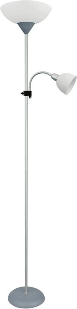 Abajur de Chão Premier Iluminação Iluminação Tulip Metal Cromado Cúpula Dupla Branca