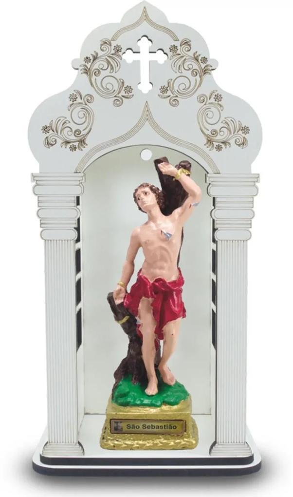 Capela 34 cm Com Imagem De São Sebastião Inquebrável