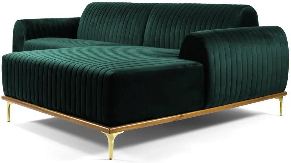 Sofá 4 Lugares com Chaise Base de Madeira Euro 255 cm Veludo Verde - Gran Belo