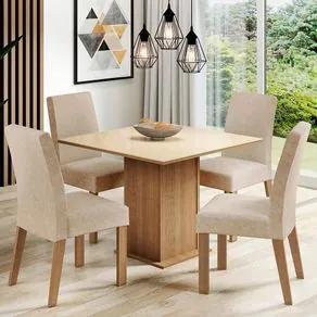 Conjunto Sala de Jantar Madesa Evelin Mesa Tampo de Vidro com 4 Cadeiras Rustic/Crema/Imperial Cor:Rustic/Crema/Imperial