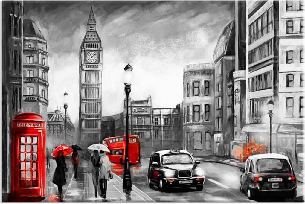 Tela Decorativa Abstrato London Red Grande Love Decor