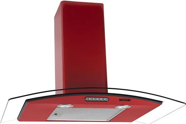 Coifa em Vidro Curvo Slim Vermelho de 80 cm - 127 Volts