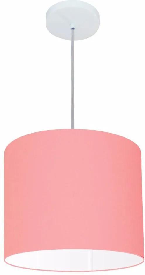 Lustre Pendente Cilíndrico Md-4143 Cúpula em Tecido 35x25cm Rosa Bebê - Bivolt