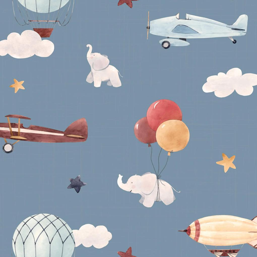 Papel de Parede Balão Elefante e Aviões Infantil 57x270cm