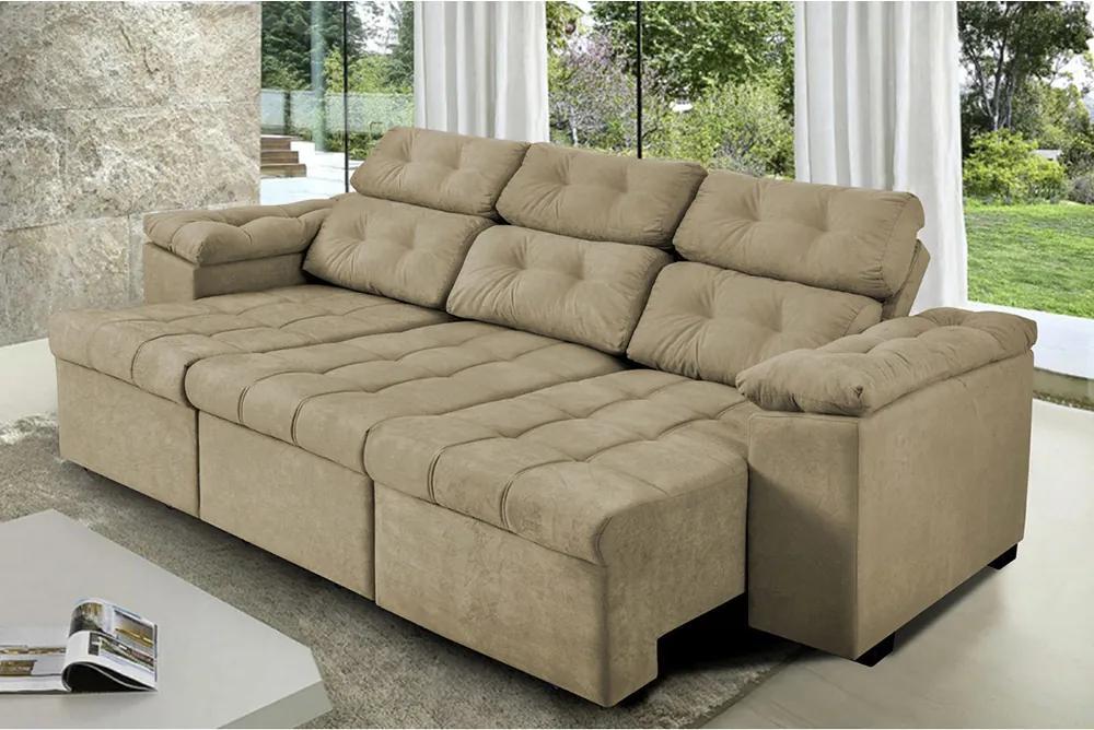 Sofa Itália 2,25 Mts Retrátil E Reclinavel Tecido Suede Castor - Cama Inbox