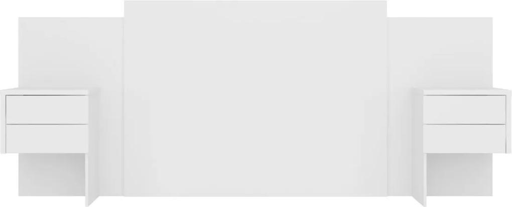 Cabeceira Recife Para Colchão Box C/ Mesa de Apoio Extensível Branco Fosco Liso Albatroz