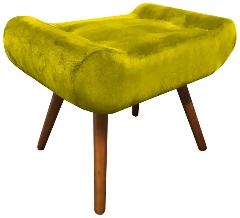 Puff Decorativo Muu Pés Palito Suede Amarelo - Sheep Estofados - Amarelo