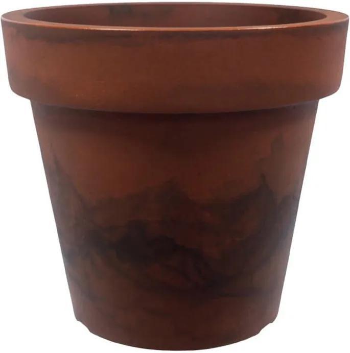 Vaso Polietileno Estilo Vietnamita Redondo Essencial D57cm x A50cm Aço Corten
