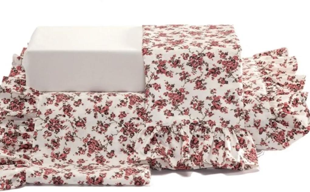 Jogo de Lençol Sofia Queen 04 Peças - Estampa Floral Vermelho