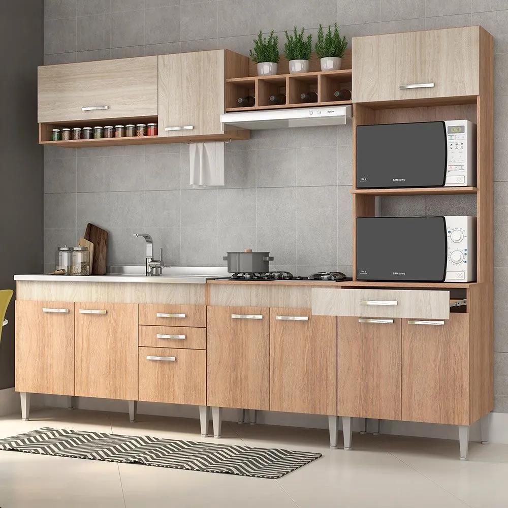 Cozinha Completa Sem Tampo 10 Portas 4 Gavetas Carvalho/Blanche/Bordô