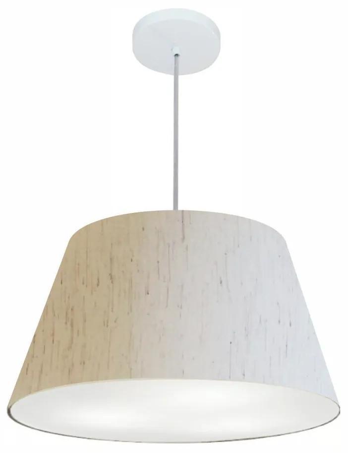 Lustre Pendente Cone Md-4249 Cúpula em Tecido 30/50x35cm Linho Bege - Bivolt