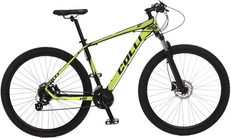 Bicicleta Esportiva Aro 29 Altus Shimano Suspensão Freio a Disco F11 Quadro 18 Alumínio Preto/Amarelo - Colli Bike