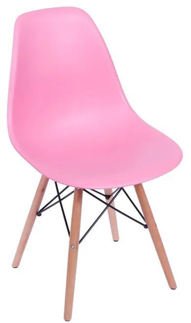 Cadeira Eames Eiffel Base Madeira - Rosa