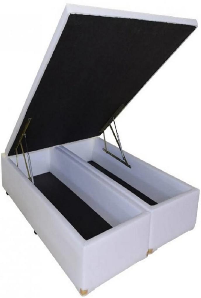 Cama Box Baú Bipartido Casal Premium 1,38 x 1,88 x 0,40 Tecido Sintético Branco