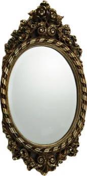 Espelho Oval com Moldura em Resina Prata Detalhes em Relevo