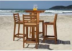 Conjunto de Mesa de Bar com 4 Banquetas Altas em Madeira Jatobá - Mão