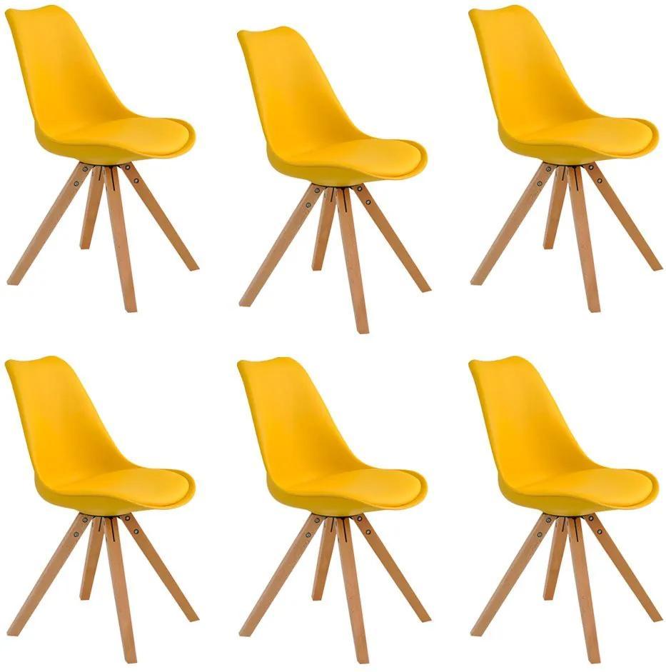 Kit 6 Cadeiras Decorativas Sala e Escritório Neo (PP) Amarela- Gran Belo