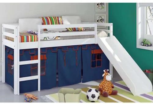 Cama com Escorregador e Tenda Castelo Azul para Meninos - Casatema