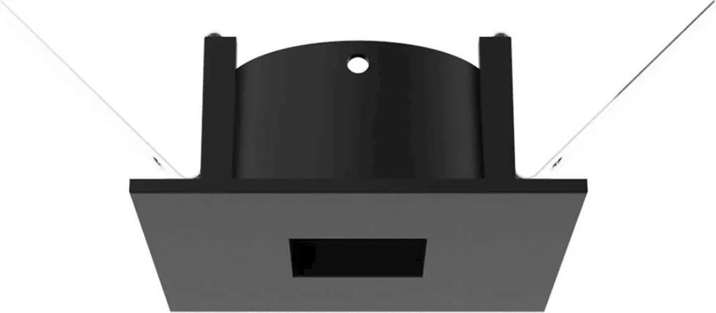Plafon Embutir Quadrado Aluminio Preto Face Plana