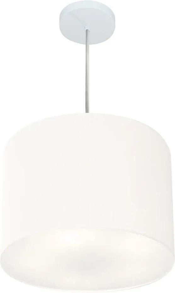 Lustre Pendente Cilíndrico Vivare Md-4212 Cúpula em Tecido 40x30cm - Bivolt - Branco - 110V/220V (Bivolt)