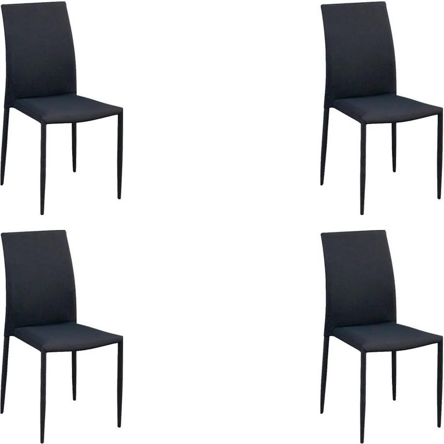 Kit 4 Cadeiras Decorativas Sala e Cozinha Karma Poliéster Cinza com Preto - Gran Belo