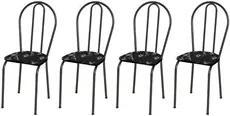 Kit 4 Cadeiras 004 Cromo Preto/Florido - Artefamol