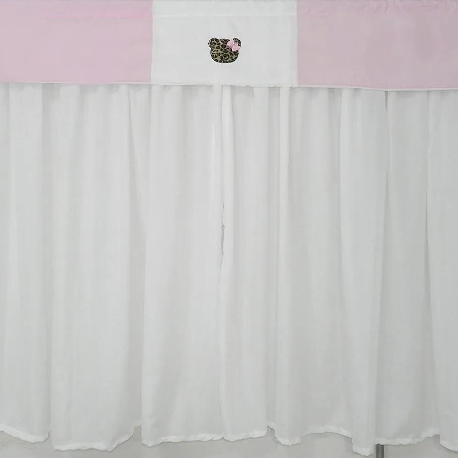 Cortina Quarto de Bebê Ursa Oncinha Rosa