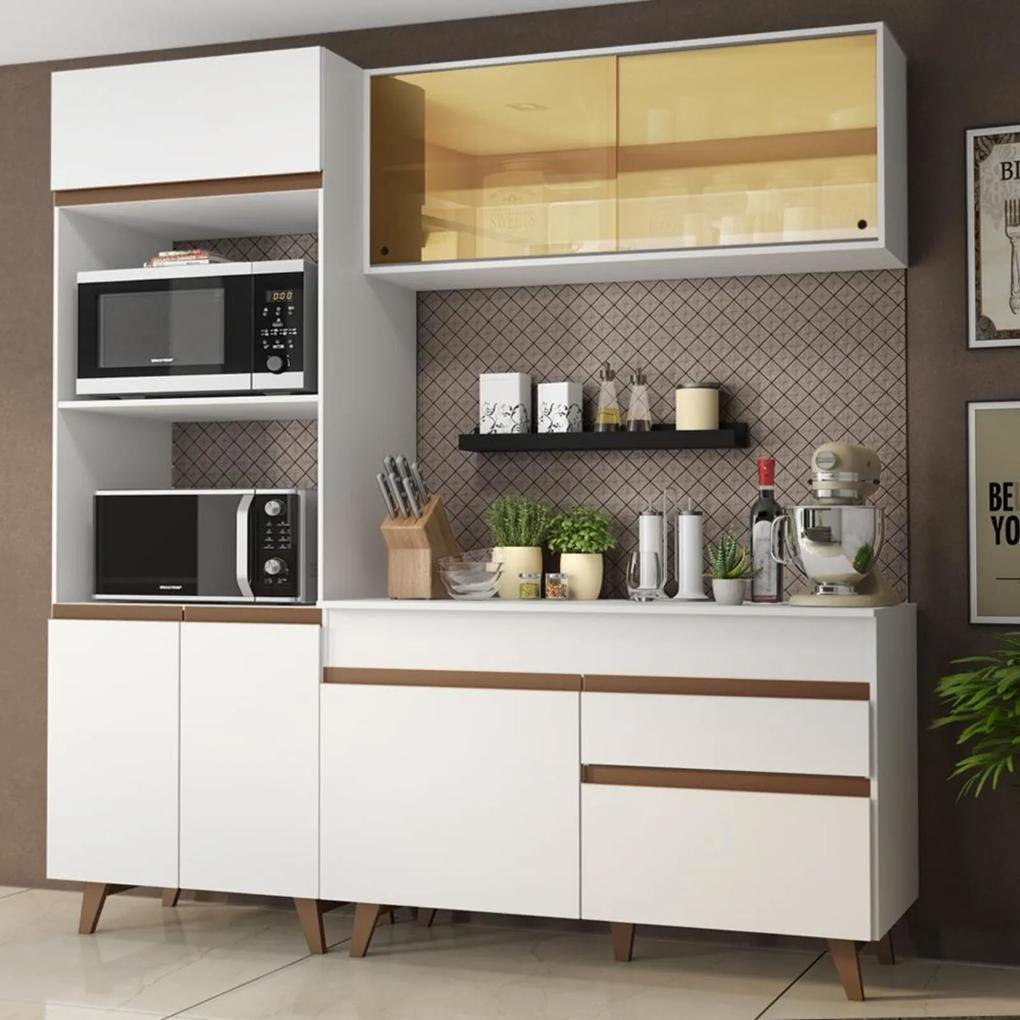Cozinha Compacta Madesa Reims 190002 com Armário e Balcão - Branco Branco
