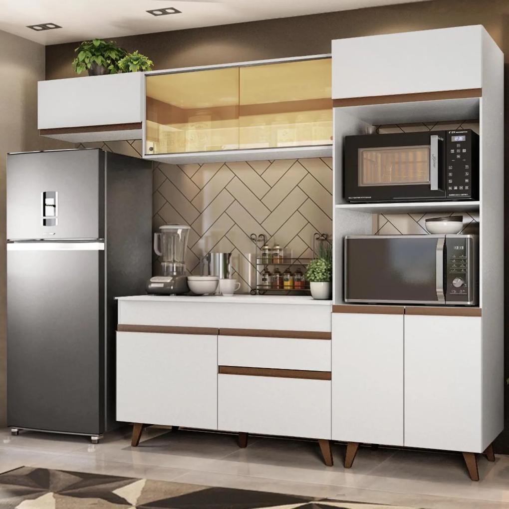 Cozinha Completa Madesa Reims 260001 com Armário e Balcão - Branco Branco