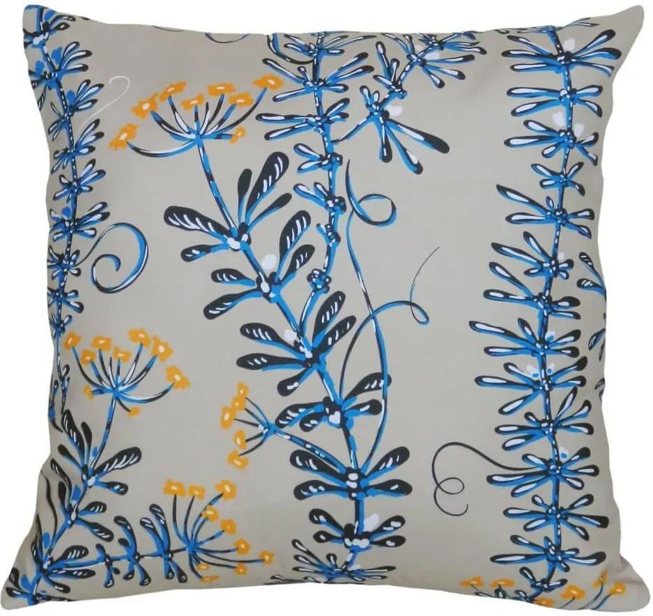 Capa de Almofada em Suede Flores e Folhas Azul e Branco 44x44cm
