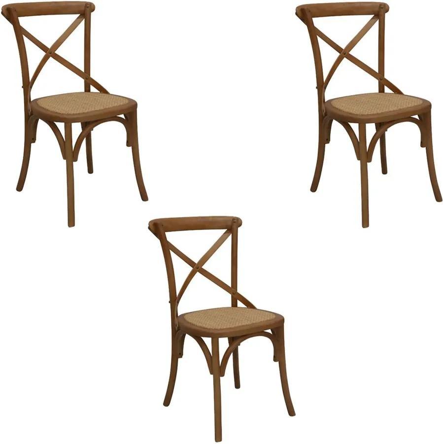 Kit 3 Cadeiras Decorativas Sala De Jantar Cozinha Danna Rattan Natural Bétula- Gran Belo