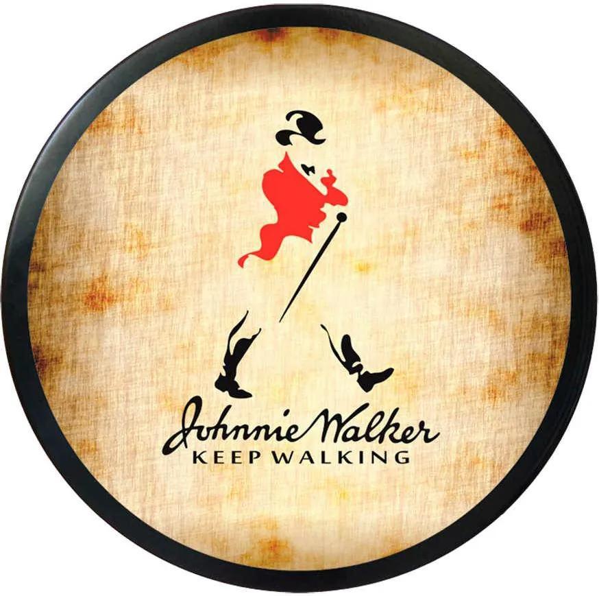Luminoso Johnnie Walker Redondo - Bivolt - em Alumínio com LED 30x4 cm