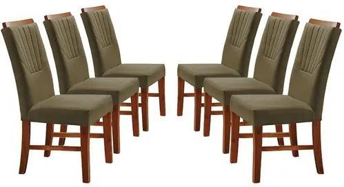 Kit 6 Cadeiras de Jantar Estofada Fendi em Veludo Hatlar