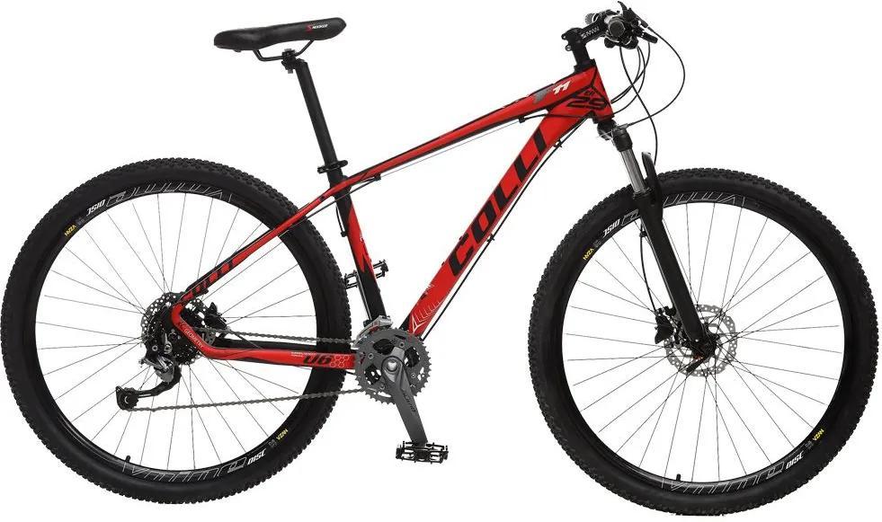Bicicleta Esportiva Aro 29 Alívio Shimano Suspensão Freio a Disco F11 Quadro 18 Alumínio Preto/Vermelho - Colli Bike