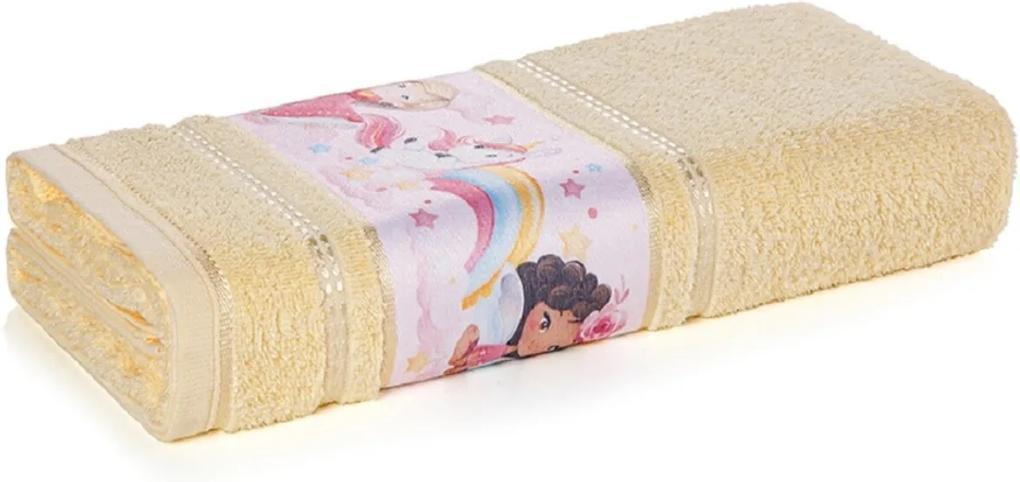 Toalha de Rosto Infantil Menina Encantada Amarela Karsten 49x70cm
