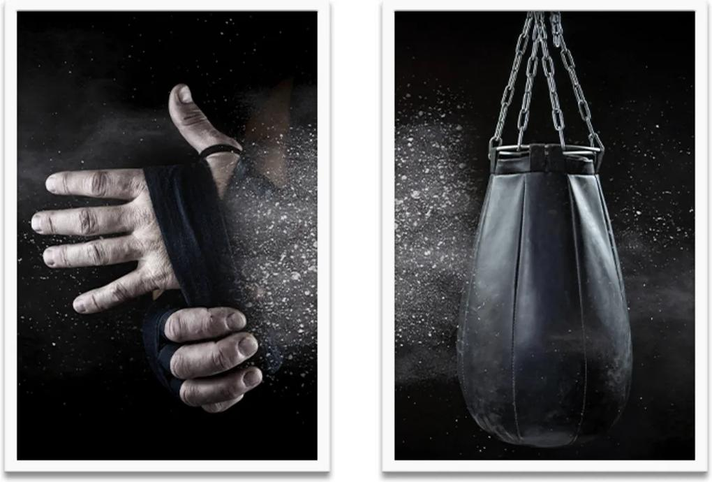 Quadro Duo 60x80cm Boxe Esporte Acessório Moldura Branca S/Vidro