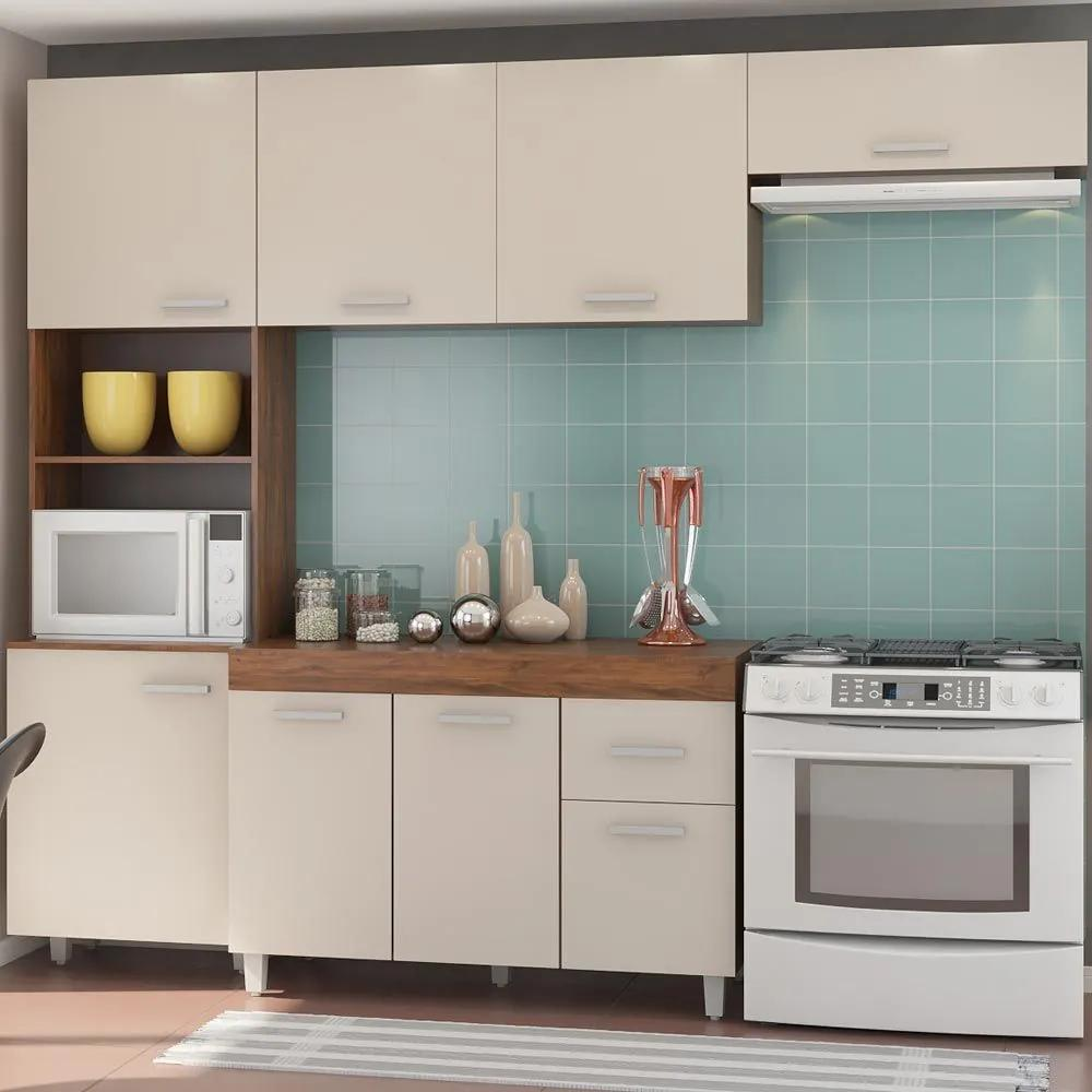 Cozinha Compacta Genova 8 Portas 1 Gaveta Seda/Off White - Viero Móveis