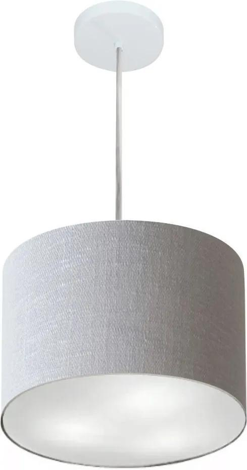 Lustre Pendente Cilíndrico Md-4210 Cúpula em Tecido 30x25cm Rustico Cinza - Bivolt