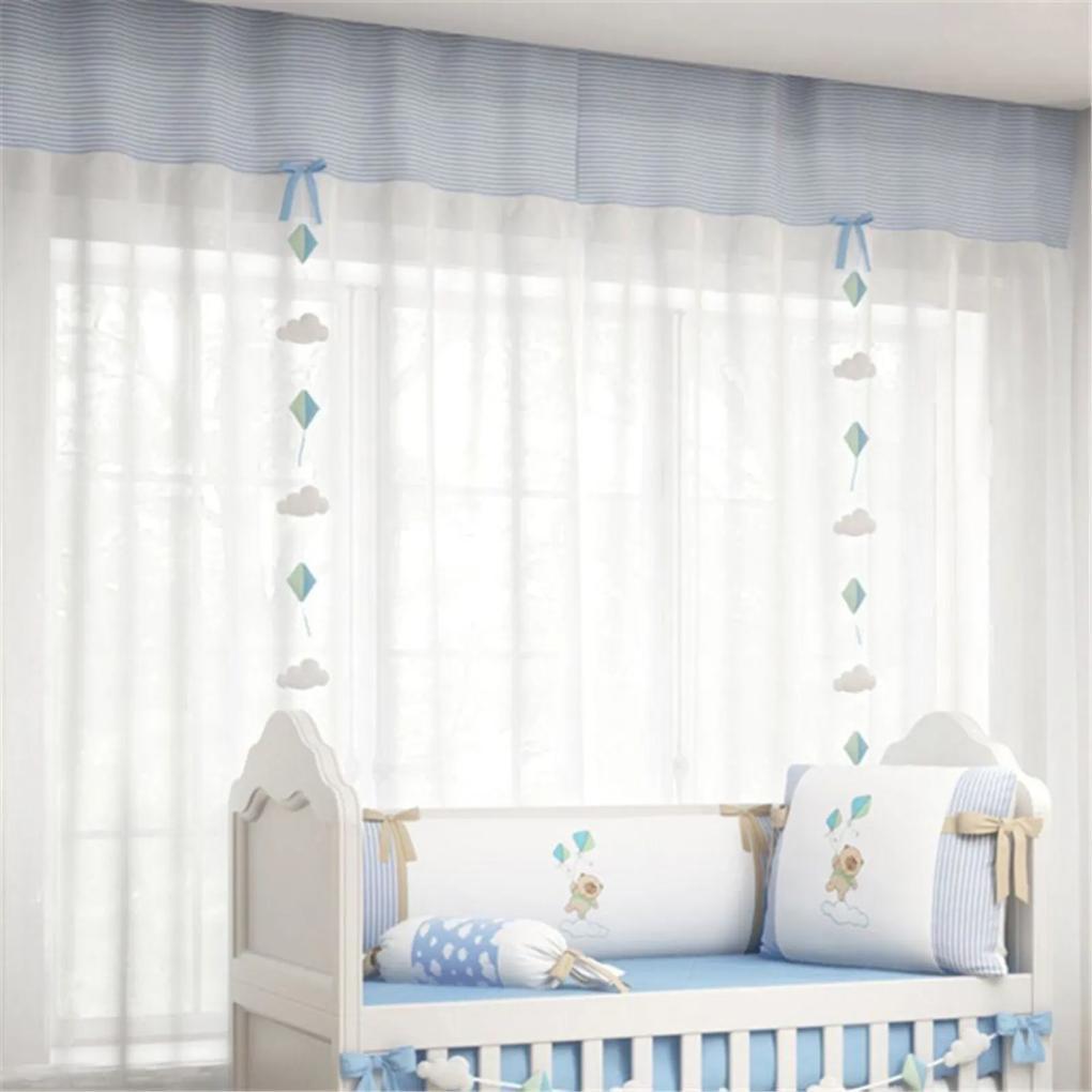 Cortina Quarto Bebê Branco e Azul 1,50m Grão de Gente Azul