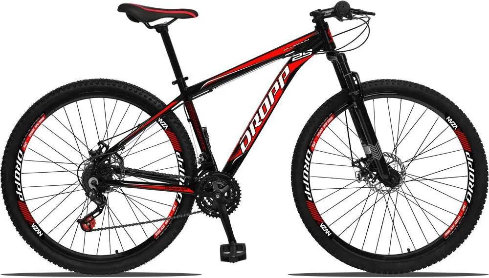 Bicicleta Aro 29 Freio a Disco Mecânico Quadro 17 Alumínio 21 Marchas Preto Vermelho - Dropp