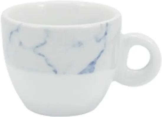 Xícara Café com Pires 80 ml Porcelana Schmidt - Dec. Mármore Azul