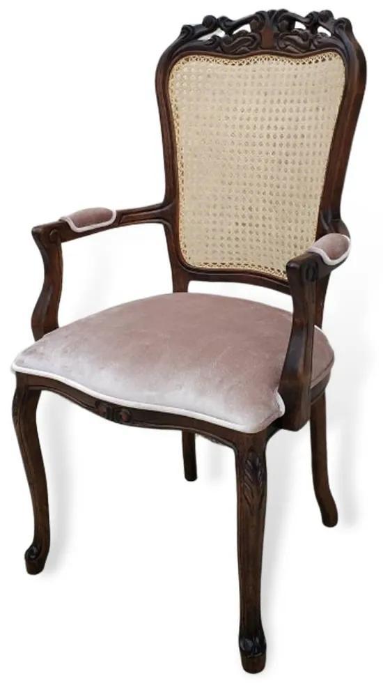 Cadeira com Braço Luís XV Palhinha Indiana Design de Luxo Peça Artesanal