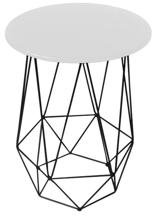 Mesa Lateral Decorativa Eiffel Tampo Branco Aramado Preto