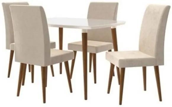 Conjunto De Jantar Jade Off White Com 4 Cadeiras Jade Pena Caramelo Pés Palito – RV Móveis