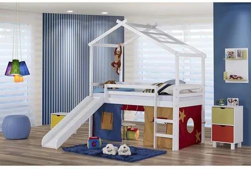 Cama Infantil com Escorregador, Telhado V e Tenda Multicores - Madeira Maciça - Laca Branco