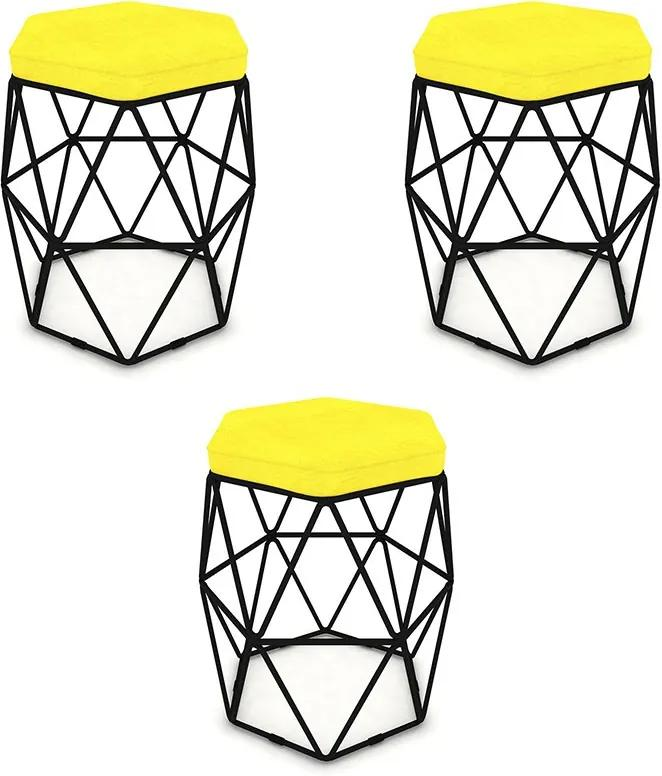 Kit 3 Puffs Aramado Hexagonal Base de Ferro Preta Suede Amarelo - Sheep Estofados - Amarelo