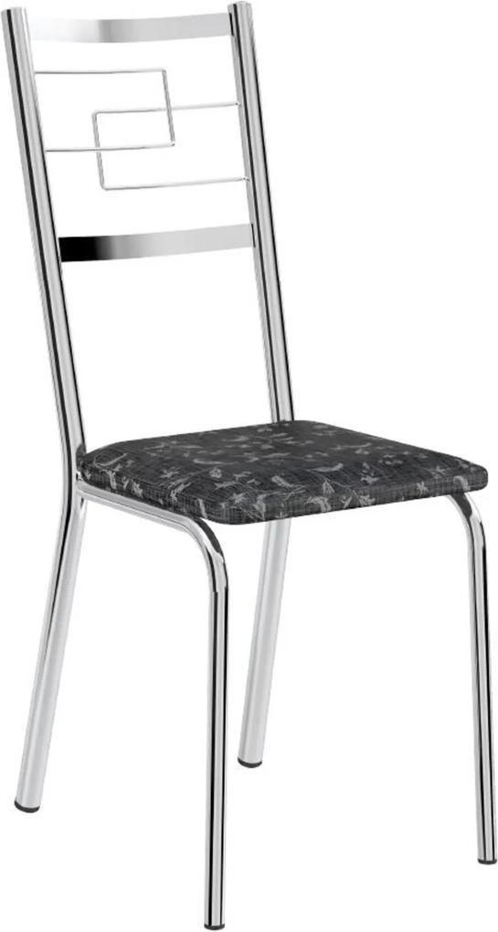 Cadeira Tubo Cromado Tecil Preto Carraro