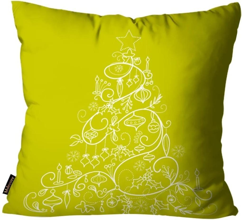 Capas para Almofada Premium Cetim Mdecore Natal Arvore de Natal Verde 45x45cm