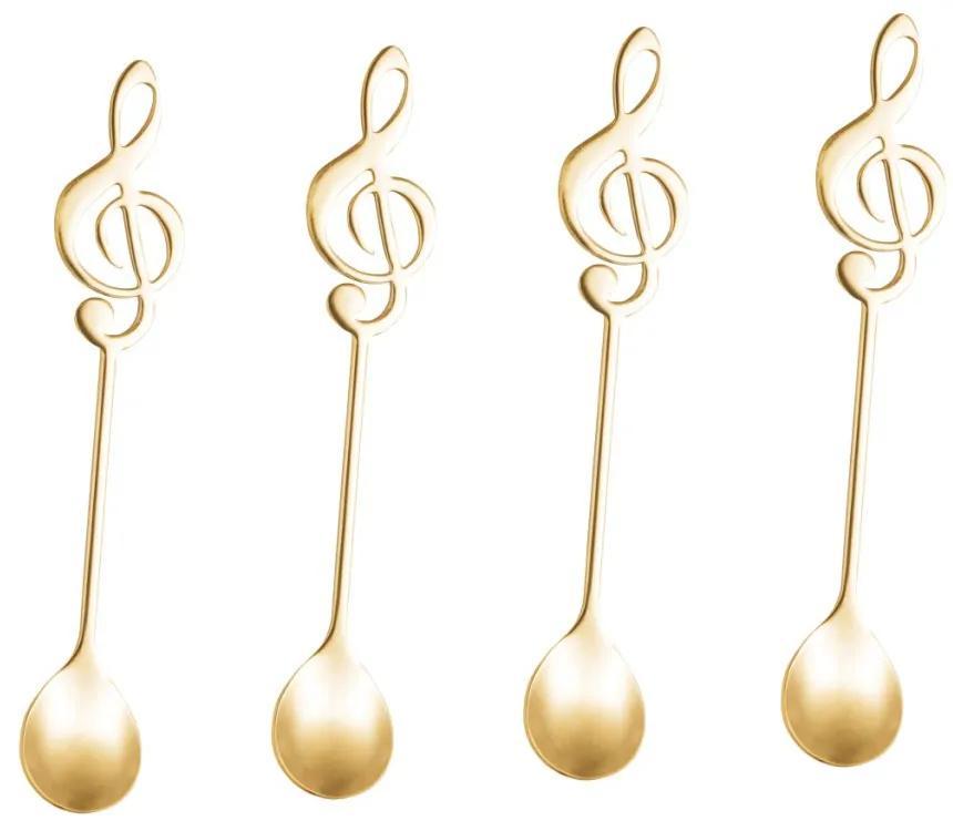Jogo Colheres Para Chá Inox Music 4 Peças Dourado 28290 Bon Gourmet
