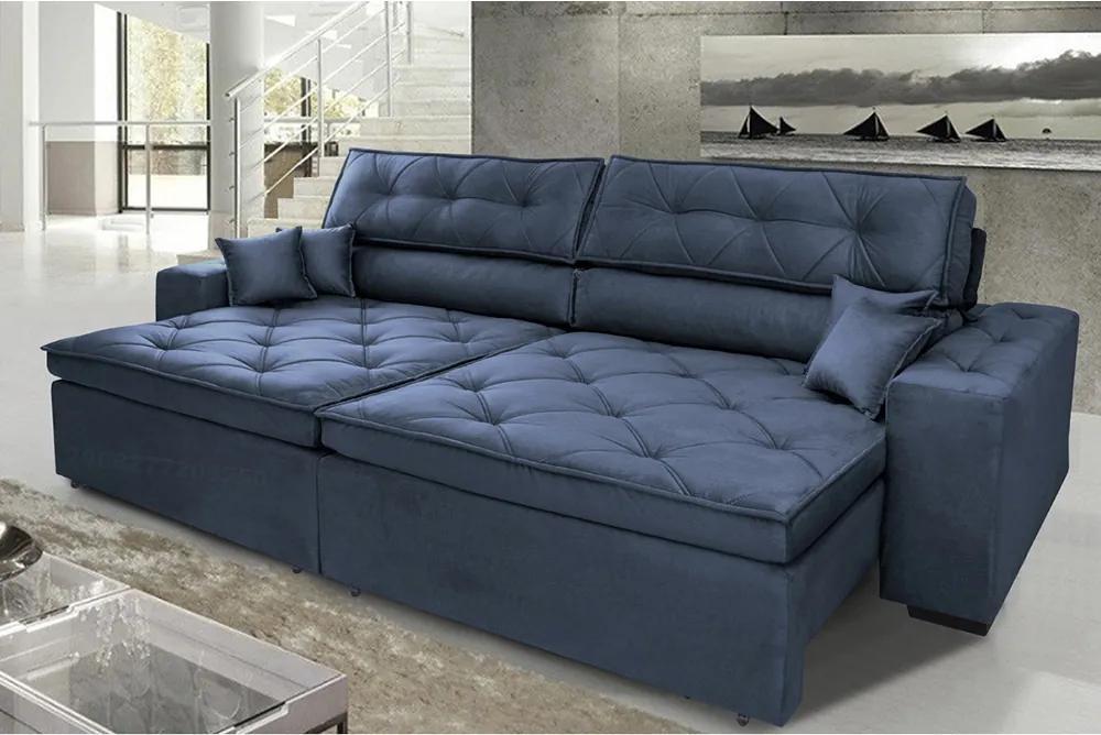 Sofá Austin 2,22m Retrátil, Reclinável Com Molas No Assento E Almofadas, Tecido Suede Azul